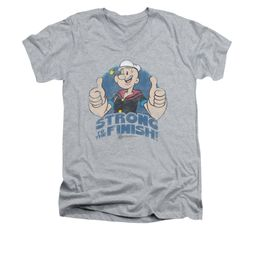 Popeye Shirt To The Finish Slim Fit V Neck Athletic Heather Tee T-Shirt