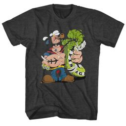 Popeye Shirt Wood Head Charcoal T-Shirt