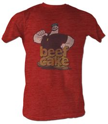 Popeye T-shirt Brutus Beefcake Red Heather Adult Tee Shirt