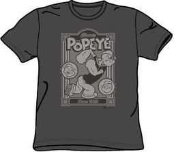 Popeye T-shirt Cartoon Classic Popeye Adult Charcoal Gray Tee