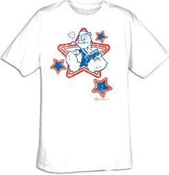 Popeye T-shirt Cartoon Hero Stars Adult White Tee