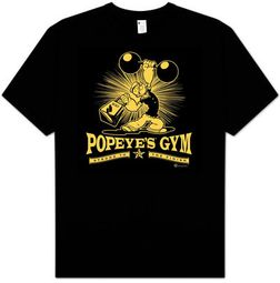 Popeye T-shirt Cartoon Popeyes Gym Adult Black Tee