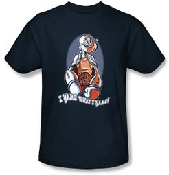 Popeye T-shirt Cartoon Show I Yams Adult Navy Blue Tee