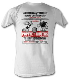 Popeye T-shirt Heavyweight Boxing Championship Adult White Tee Shirt