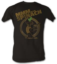 Popeye T-shirt MMM Spinach Adult Black Tee Shirt
