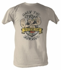 Popeye T-shirt Only The Strong Survive Adult Dirty White Tee Shirt