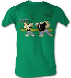 Popeye T shirt - Popeye Punch Brutus Adult Kelly Green Tee Shirt