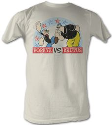 Popeye T-shirt Popeye VS Brutus Adult White Tee Shirt