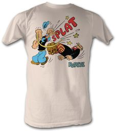Popeye T shirt Punch Splat Adult Dirty White Tee Shirt
