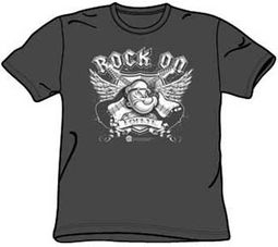 Popeye T-shirt Rock On Guitars Adult Charcoal Gray Tee