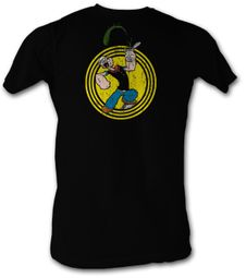 Popeye T shirt Spinach Circle The Sailorman Adult Black Tee Shirt
