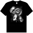 Popeye T-shirt Spinach King Cartoon Classic Adult Black Tee