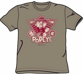 Popeye T-shirt Strong To The Finish Vintage Safari Green Adult Tee