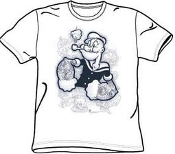 Popeye T-shirt Tattooed Cartoon Adult White Tee
