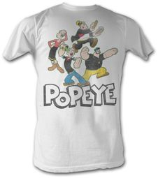 Popeye T-shirt The Sailorman Group Adult White Tee Shirt
