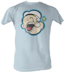 Popeye T-shirt The Sailorman Head 2  Adult Light Blue Tee Shirt