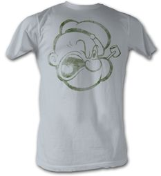 Popeye T-shirt The Sailorman Head Adult Silver Tee Shirt