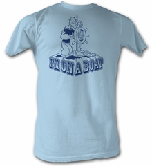 Popeye T-shirt The Sailorman I知 On A Boat Adult Light Blue Tee Shirt