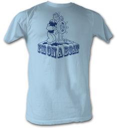 Popeye T-shirt The Sailorman I�m On A Boat Adult Light Blue Tee Shirt