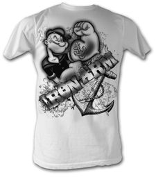 Popeye T-shirt The Sailorman Iron Arm Adult White Tee Shirt