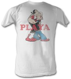 Popeye T-shirt The Sailorman Playa Adult Light Blue Tee Shirt