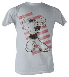 Popeye T shirt The Sailorman Red Stripes Adult Silver Tee Shirt