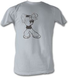 Popeye T shirt Washed The Sailorman Adult Silver Tee Shirt