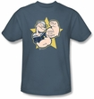 Popeye T-shirt Welcome To The Gun Show Adult Slate Blue Tee