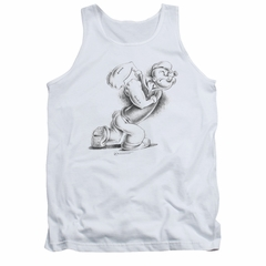 Popeye Tank Top Here Comes Trouble White Tanktop