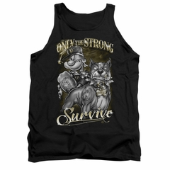 Popeye Tank Top Only The Strong Black Tanktop