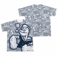 Popeye Tattooed Sailor Sublimation Kids Shirt Front/Back Print