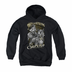 Popeye Youth Hoodie Only The Strong Black Kids Hoody