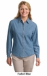Port Authority Ladies Denim Shirt Stonewashed Long Sleeve