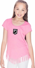 Pow Mia Patch Small Print Girls Fringe T-shirt