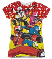 Power Rangers Ninja Steel Shirt GO GO Sublimation Juniors Shirt