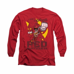 Power Rangers Shirt Go Red Long Sleeve Red Tee T-Shirt