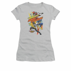 Power Rangers Shirt Juniors Swords Out Silver T-Shirt
