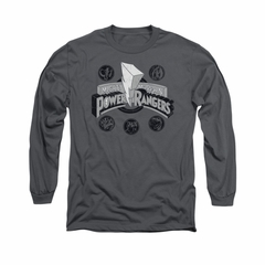 Power Rangers Shirt Power Coins Long Sleeve Charcoal Tee T-Shirt