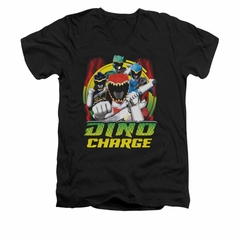 Power Rangers Shirt Slim Fit V-Neck Red Lightning Black T-Shirt