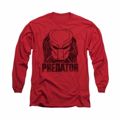 Predator Shirt Logo Long Sleeve Red Tee T-Shirt