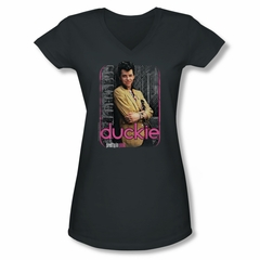 Pretty In Pink Shirt Juniors V Neck Just Duckie Charcoal Tee T-Shirt