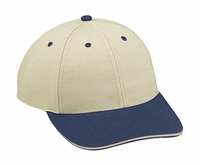 Professional Style Two Tone Hat – Wool Sandwich Visor Adjustable Cap