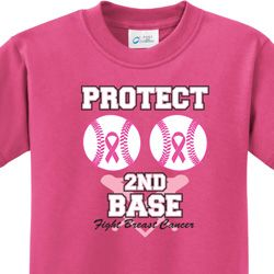 Protect 2nd Base Kids Breast Cancer Awareness Shirts