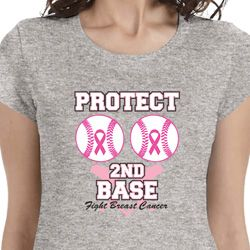 Protect 2nd Base Ladies Breast Cancer Awareness Shirts