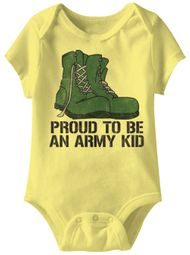 Proud To Be An Army Kid Funny Baby Romper Yellow Infant Babies Creeper