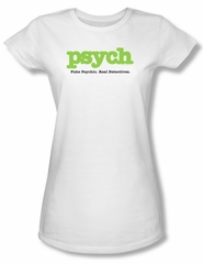Psych Shirt Juniors Title White Tee T-Shirt