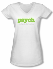 Psych Shirt Juniors V Neck Title White Tee Shirt