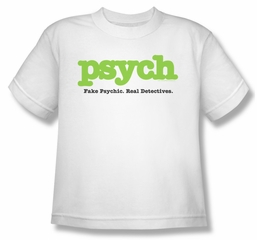 Psych Shirt Kids Title White Youth Tee T-Shirt