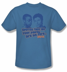 Psych Shirt Pants On Fire Adult Carolina Blue Tee T-Shirt