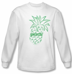 Psych Shirt Pineapple Long Sleeve White Tee T-Shirt